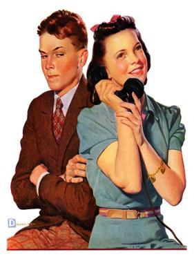 """Phone Call from Another Suitor,""May 27, 1939 by Douglas Crockwell"