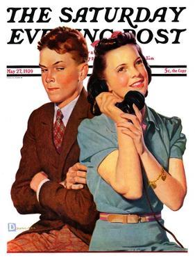 """Phone Call from Another Suitor,"" Saturday Evening Post Cover, May 27, 1939 by Douglas Crockwell"