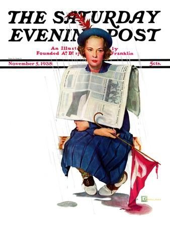 """Rainy Football Game,"" Saturday Evening Post Cover, November 5, 1938"