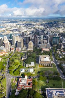 Downtown Honolulu, Oahu, Hawaii, aerial by Douglas Peebles