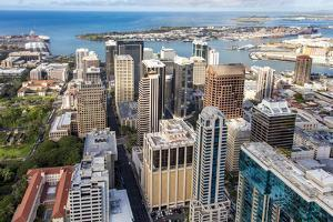 Downtown Honolulu, Oahu, Hawaii, aerial by Douglas Peebles