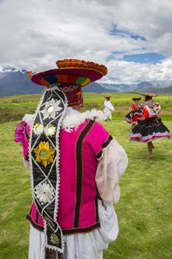 Inca Dancers in Costume, Inca Terraces of Moray, Cusco Region, Peru by Douglas Peebles