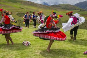 Inca Dancers in Costume, Inca Terraces of Moray, Cusco Region, Peru by Douglas Peebles