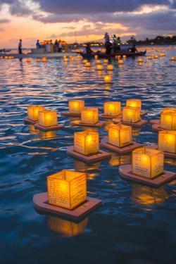 Lantern Floating Festival, Memorial Day, Ala Moana Park, Honolulu, Oahu, Hawaii, USA by Douglas Peebles