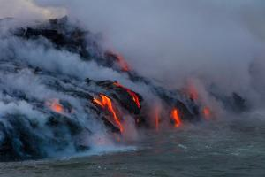 Lava Boat Tour, Kilauea Volcano, Hawaii Volcanoes National Park, Hawaii by Douglas Peebles