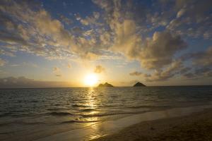 Sunrise, Lanikai Beach, Mokulua Islands, Kailua, Oahu, Hawaii by Douglas Peebles