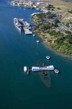 USS Missouri and USS Arizona Memorial, Pearl Harbor, Oahu, Hawaii by Douglas Peebles