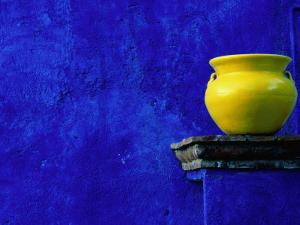 Yellow Pot and Blue Wall by Douglas Steakley