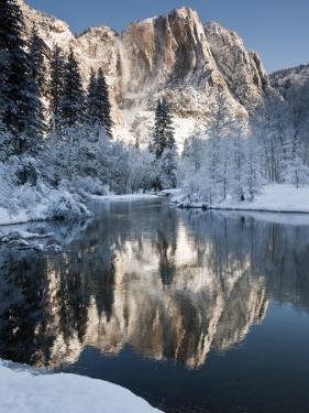 Yosemite Falls in Winter Reflected in the Merced Rive by Douglas Steakley