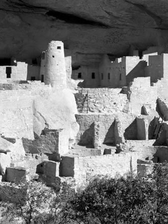 Cliff Palace Pueblo Portrait BW by Douglas Taylor