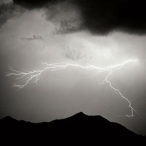 Mountain Lightning Sq BW by Douglas Taylor