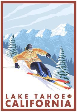 Downhhill Snow Skier, Lake Tahoe, California