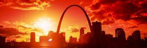Downtown Buildings and Gateway Arch at Sunset, St. Louis, Missouri, USA