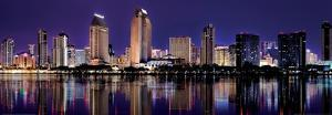 Downtown Cityscape with Buildings Reflecting in San Diego Bay