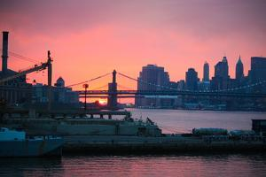 Downtown New York City Brooklyn Bridge Sunset Photo Print Poster