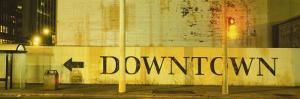 Downtown Sign Printed on a Wall, San Francisco, California, USA