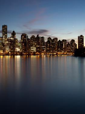 Downtown Skylines Lit Up at the Waterfront, Coal Harbor, Lost Lagoon, Vancouver, British Columbi...