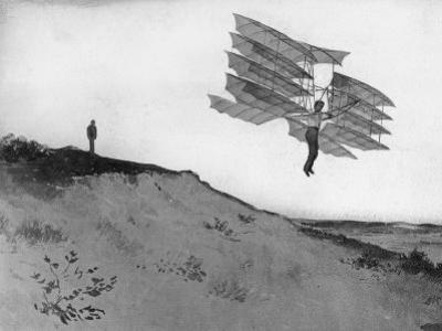 A Glider Rider Jumps off a Dune at the Chanute Gliding Camp on the Shores of Lake Michigan