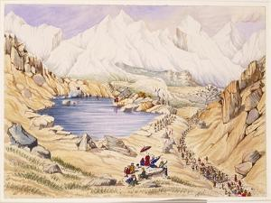 T612 Soldiers Invading Tibet from Nepal, Entrance to the Keerung Pass. the Plain Is Part of the… by Dr. Henry Ambrose Oldfield