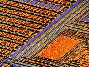 Coloured SEM of Surface of An EPROM Silicon Chip by Dr. Jeremy Burgess