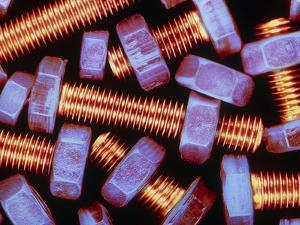 False-coloured Photograph of Nuts And Bolts by Dr. Jeremy Burgess