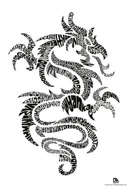 Dragon Types Text Poster