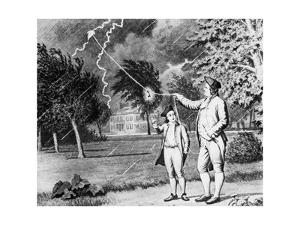 Drawing of Benjamin Franklin Experiment