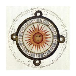 Drawing of the Aztec Sun Calendar Stone in Mexico