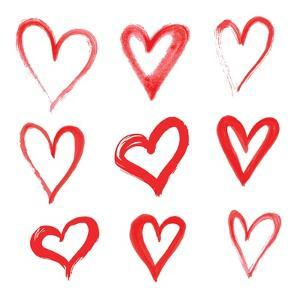 Drawing with a Brush in the Shape of Heart. Set of Love Symbols on White Background, Vector Illustr by Liliya K