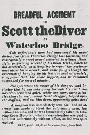 Dreadul Accident of Scott the Diver at Waterloo Bridge