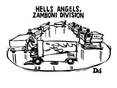 """Hells Angels, Zamboni Division"" - New Yorker Cartoon"