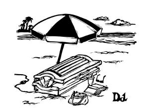 Man in a tanning machine on the beach. - New Yorker Cartoon by Drew Dernavich