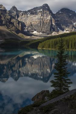 Mountain Reflections on Moraine Lake in Banff National Park by Drew Rush