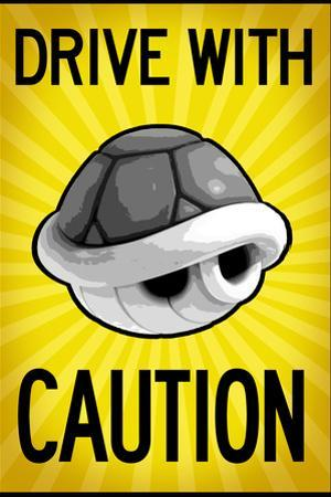 Drive With Caution Shell Plastic Sign