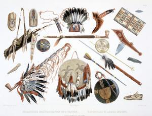 'Indian Utensils and Arms', 1843 by Du Casse