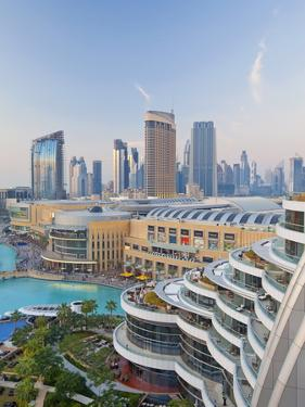 Dubai Skyline, Elevated View Over the Dubai Mall and Burj Khalifa Park, Dubai