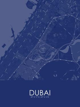 Dubai, United Arab Emirates Blue Map