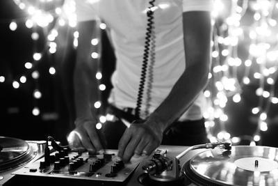 A Cool Male Dj on the Turntables