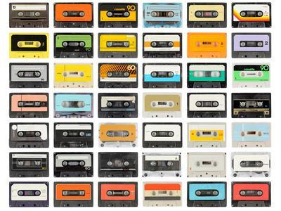 A Large Collection of Retro Cassette Tapes Places in a Grid