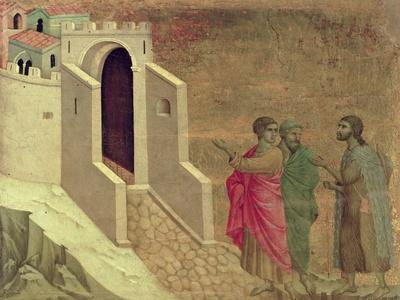 Maesta: Christ Appearing on the Road to Emmaus, 1308-11