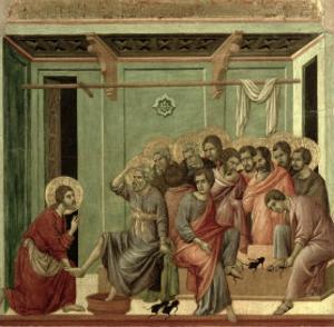 Maesta: Christ Washing the Disciples' Feet, c.1308-11 by Duccio di Buoninsegna