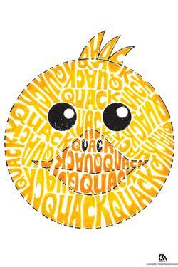 Duck Quack Text Poster