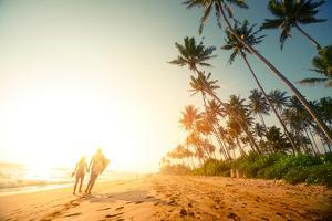 Couple Walking on the Sandy Beach with Palm Trees by Dudarev Mikhail