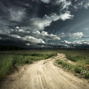 Road in Field and Stormy Clouds by Dudarev Mikhail