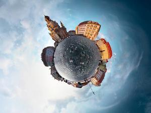 Spherical Panorama of City of Dresden in a Form of Little Planet by Dudarev Mikhail