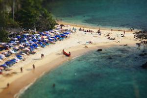 Tropical Sandy Beach and Calm Lagoon with Clear Blue Water. Pseudo Tilt Shift. Ya Nui Beach, Phuket by Dudarev Mikhail