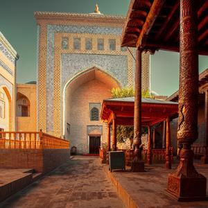 Yard of an Ancient Mosque in the City of Itchan Kala, Khiva, Uzbekistan by Dudarev Mikhail