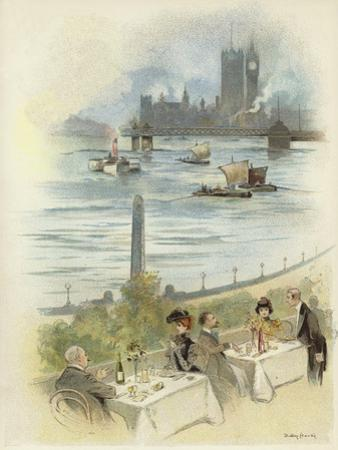 Lunch on Terrace Overlooking the Thames by Dudley Hardy