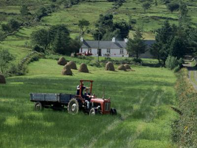 Croft with Hay Cocks and Tractor, Glengesh, County Donegal, Eire (Republic of Ireland)