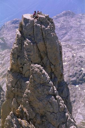 Four People on the Picos De Europa, Spain, Europe